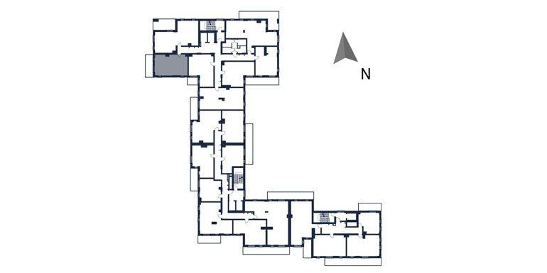 deweloperskie mieszkania rzeszów - rzut kondygnacji z zaznaczonym mieszkaniem  b17-rzut