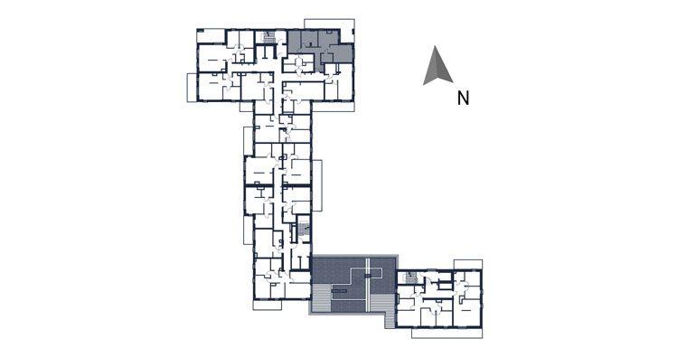 deweloperskie mieszkania rzeszów - rzut kondygnacji z zaznaczonym mieszkaniem  b19-rzut