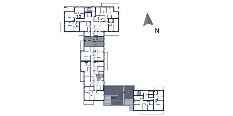 deweloperskie mieszkania rzeszów - rzut kondygnacji z zaznaczonym mieszkaniem  b22-rzut
