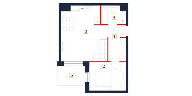 deweloperskie mieszkania rzeszów - rzut mieszkania  b23-m