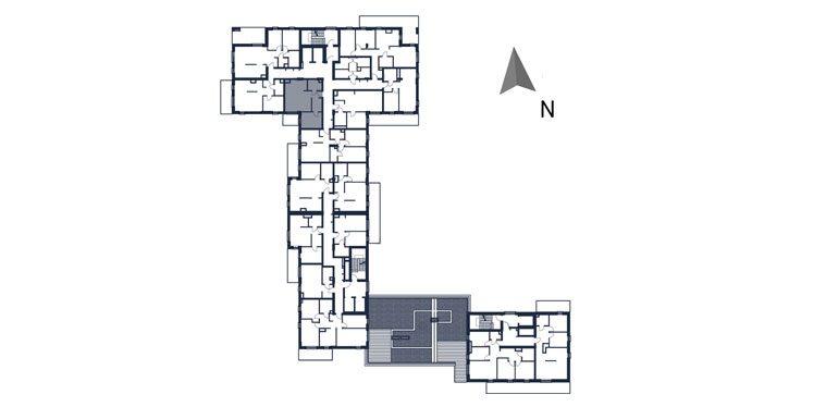deweloperskie mieszkania rzeszów - rzut kondygnacji z zaznaczonym mieszkaniem  b23-rzut