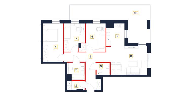 Mieszkanie – 4 pokój – loggia – 84,87 m<sup>2</sup> – Rzeszów