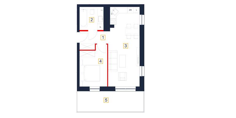 Mieszkanie – 2 pokój – balkon- 43,40 m<sup>2</sup> – Rzeszów
