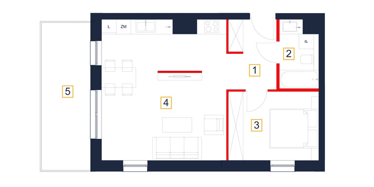 Mieszkanie – 2 pokój – balkon- 49,59 m<sup>2</sup> – Rzeszów