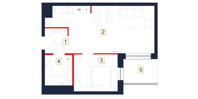 Mieszkanie – 2 pokój – balkon- 47,76 m<sup>2</sup> – Rzeszów