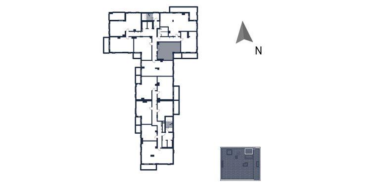 mieszkania rzeszów - rzut kondygnacji z zaznaczonym mieszkaniem  b42-rzut