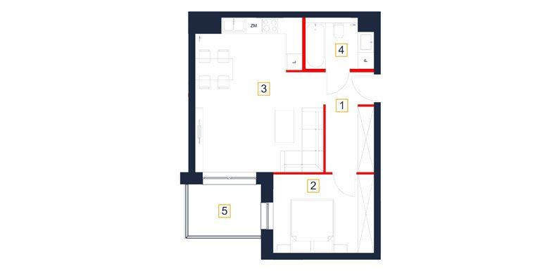 mieszkania rzeszów - rzut mieszkania  b44-m