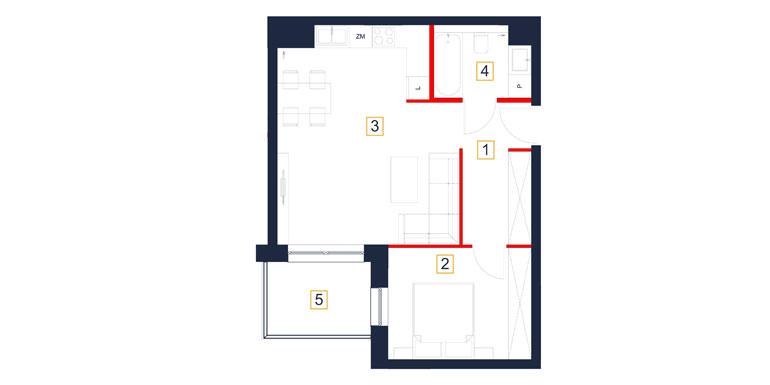 Mieszkanie – 2 pokój – balkon- 48,28 m<sup>2</sup> – Rzeszów