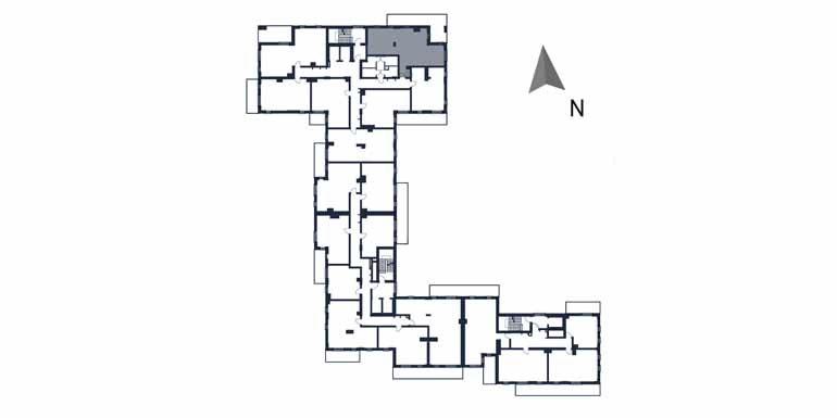 sprzedaż mieszkań rzeszów - rzut kondygnacji z zaznaczonym mieszkaniem  b5-rzut