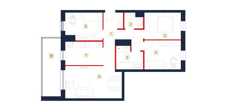 mieszkania rzeszów - rzut mieszkania  b50-m