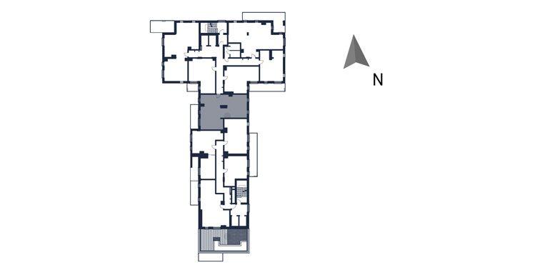 mieszkania rzeszów - rzut kondygnacji z zaznaczonym mieszkaniem  b50-rzut