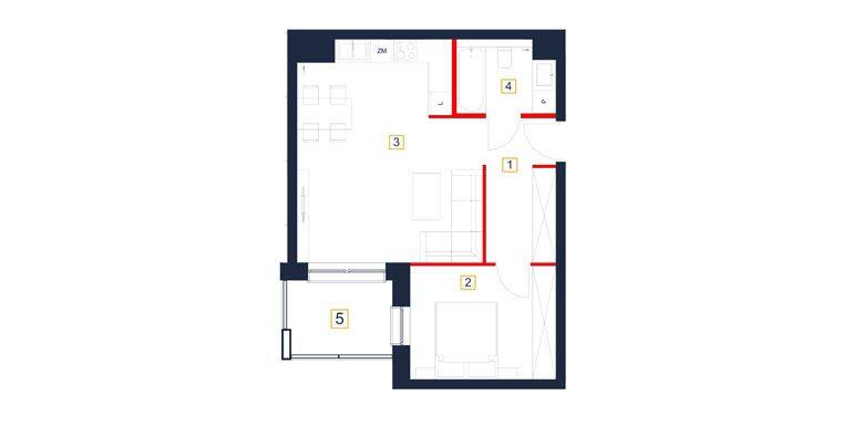 mieszkania rzeszów - rzut mieszkania  b51-m