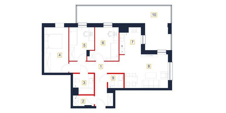 mieszkania rzeszów - rzut mieszkania  b53-m