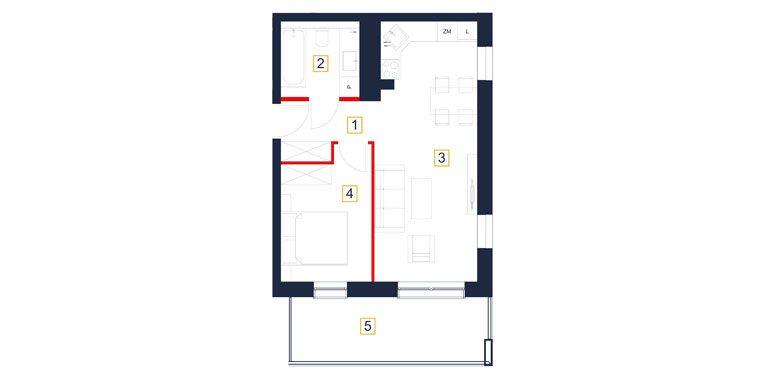 mieszkania rzeszów - rzut mieszkania  b54-m