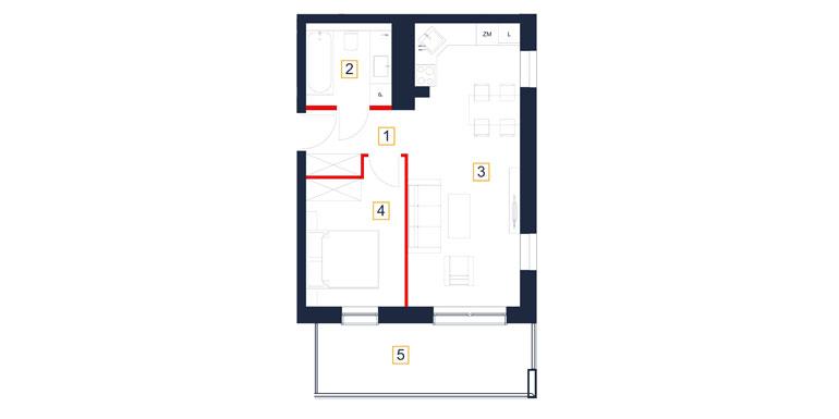 Mieszkanie – 2 pokój – loggia- 43,40 m<sup>2</sup> – Rzeszów