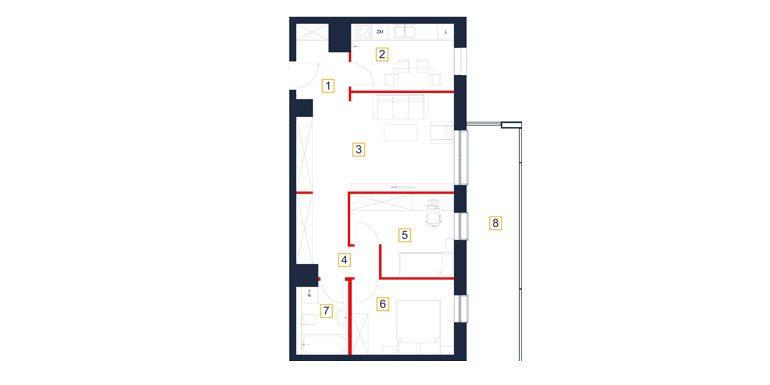 mieszkania rzeszów - rzut mieszkania  b56-m