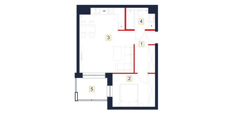 Mieszkanie – 2 pokój – taras- 48,28 m<sup>2</sup> – Rzeszów