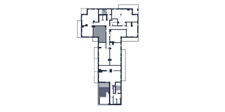 mieszkania rzeszów - rzut kondygnacji z zaznaczonym mieszkaniem  b58-rzut