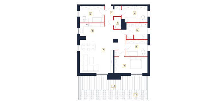 mieszkania rzeszów - rzut mieszkania  b61-m