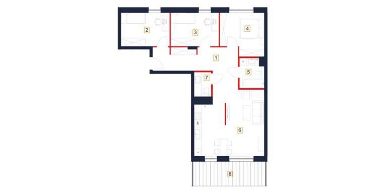 deweloperskie mieszkania rzeszów - rzut mieszkania  b63-m