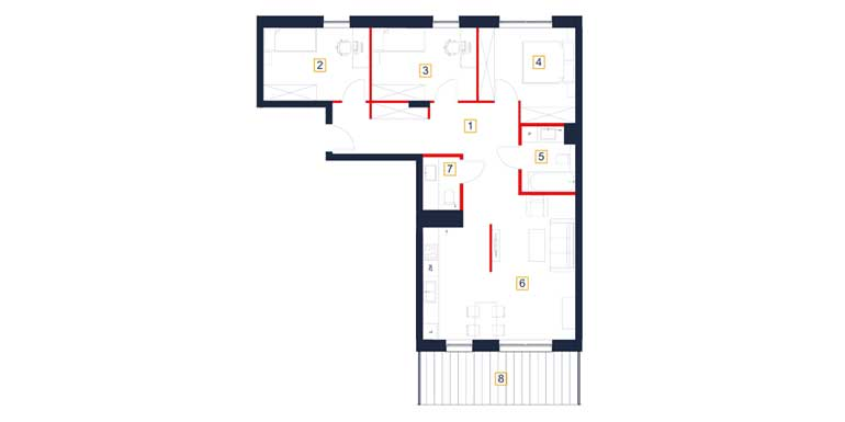 Mieszkanie – 4 pokoje – taras – 88,79 m<sup>2</sup> – Rzeszów