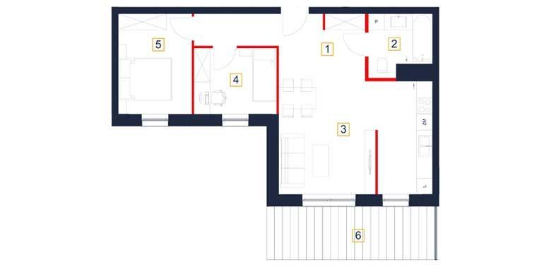 deweloperskie mieszkania rzeszów - rzut mieszkania  b64-m
