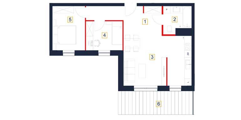 Mieszkanie – 3 pokoje – taras – 60,03 m<sup>2</sup> – Rzeszów