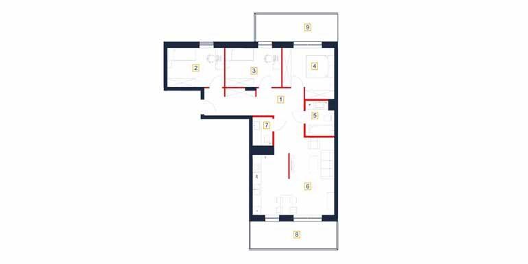 sprzedaż mieszkań rzeszów - rzut mieszkania  b65-m