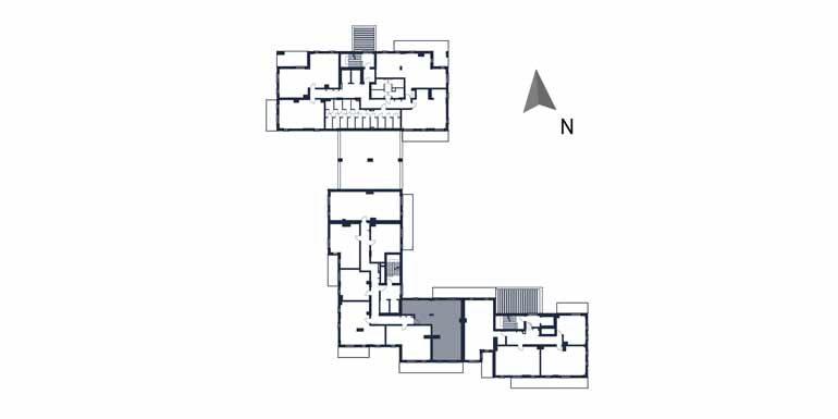 sprzedaż mieszkań rzeszów - rzut kondygnacji z zaznaczonym mieszkaniem  b65-rzut