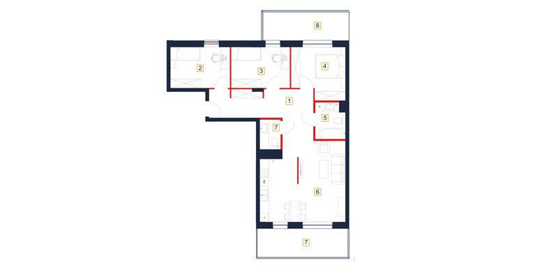 deweloperskie mieszkania rzeszów - rzut mieszkania  b72-m