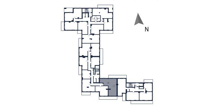 deweloperskie mieszkania rzeszów - rzut kondygnacji z zaznaczonym mieszkaniem  b72-rzut