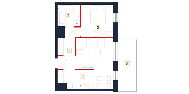 deweloperskie mieszkania rzeszów - rzut mieszkania  b78-m