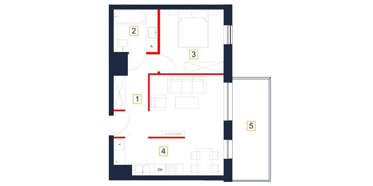 Mieszkanie – 2 pokój – balkon – 48,27 m<sup>2</sup> – Rzeszów