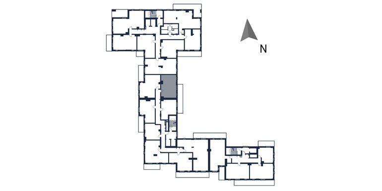 deweloperskie mieszkania rzeszów - rzut kondygnacji z zaznaczonym mieszkaniem  b86-rzut