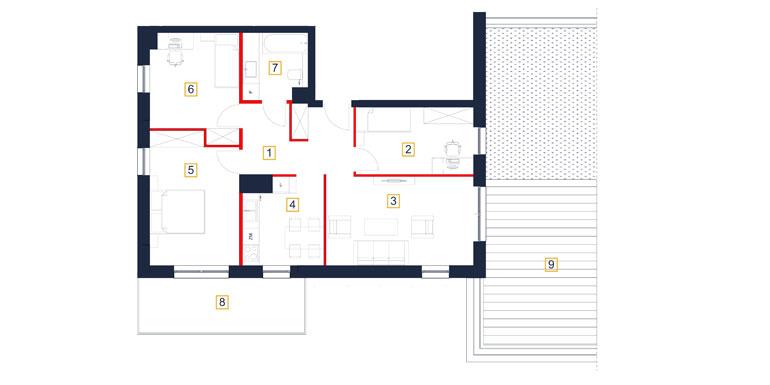 Mieszkanie – 4 pokój – taras- 71,22 m<sup>2</sup> – Rzeszów