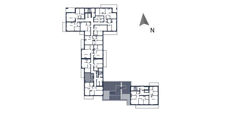 deweloperskie mieszkania rzeszów - rzut kondygnacji z zaznaczonym mieszkaniem  b89-rzut