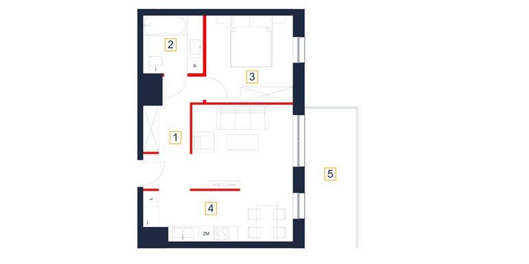 deweloperskie mieszkania rzeszów - rzut mieszkania  b92-m