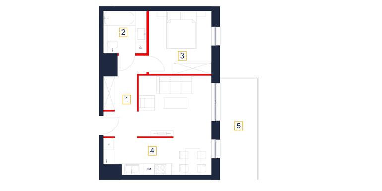 Mieszkanie – 2 pokój – balkon- 48,27 m<sup>2</sup> – Rzeszów